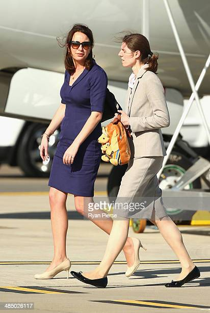 Private Secretary to the Duchess of Cambridge Rebecca Deacon and Nanny Maria Borrallo arrive at Sydney Airport on RAAF B737 on April 16 2014 in...
