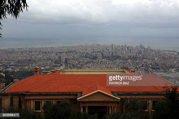 A private villa overlooks the Lebanese capital Beirut from the town of Beit Mery in the Metn region on January 8 2016 AFP PHOTO / PATRICK BAZ / AFP /...