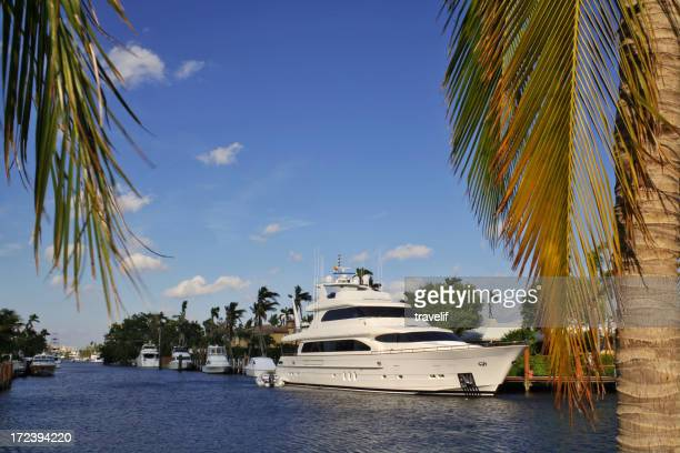 Private white yacht docked in Fort Lauderdale Florida
