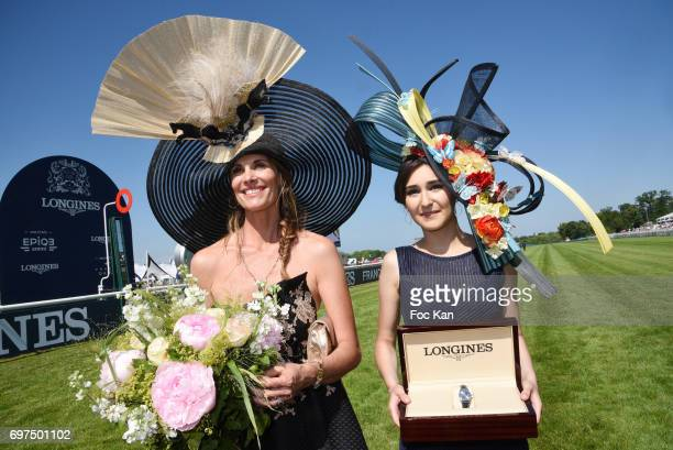 Prix de L Elegance Marie Sarah Ennceiri and Sophie Thalmann attend the 'Prix de Diane Longines 2017' on June 18 2017 at Chantilly France