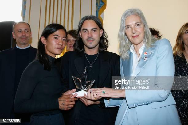 'Prix du Label Creatif' Laura Do and Bastien Laurent for Avoc Architecture Vestimentaire et Ornement Corporel and Ruth Chapman attend the ANDAM 2017...