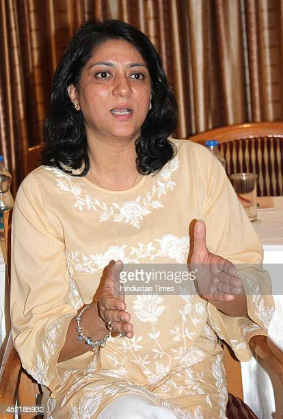 Priya Dutt Congress leader and trustee of the Nargis Dutt Memorial Charitable Trust attending a programme at Indore Cancer Foundation on July 15 2014...