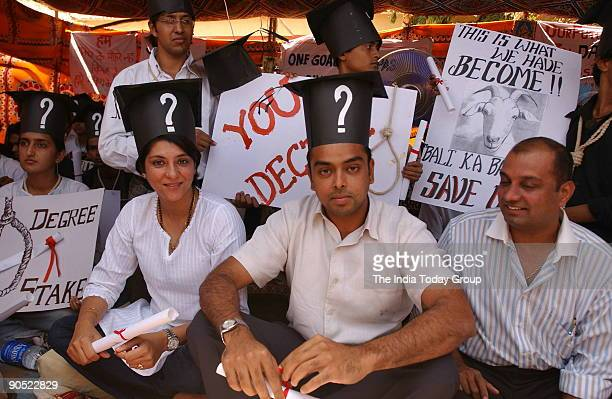 Priya Dutt Congress MP from Mumbai with Milind Deora Mumbai Member of Parliament supporting the demonstrators of Rai University students in Mumbai on...