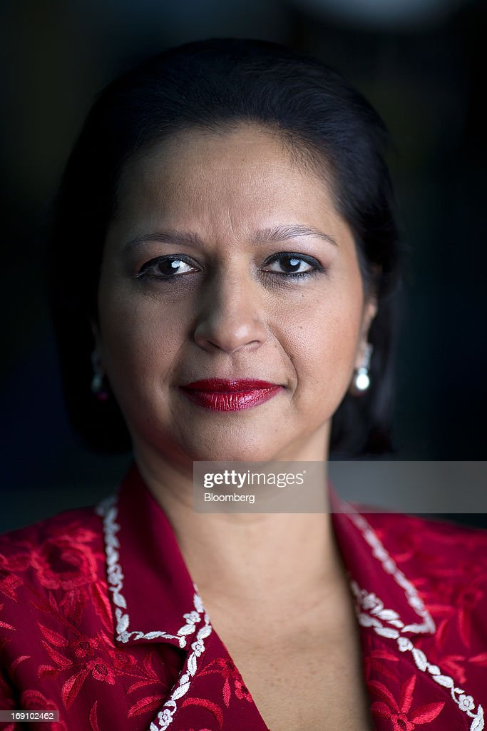 Priya Paul, chief executive officer of Apeejay Surrendra Park Hotels Ltd., poses for a photograph following a Bloomberg Television interview in London, U.K. on Monday, May 20, 2013. India's tourism ministry is seeking to increase tourist arrivals by 12 percent a year up to 2016 to double foreign exchange earnings. Photographer: Simon Dawson/Bloomberg via Getty Images