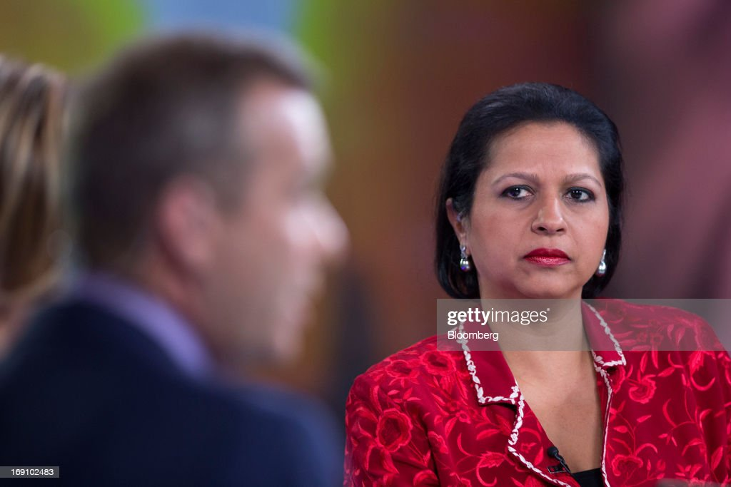 Priya Paul, chief executive officer of Apeejay Surrendra Park Hotels Ltd., right, pauses during a Bloomberg Television interview in London, U.K. on Monday, May 20, 2013. India's tourism ministry is seeking to increase tourist arrivals by 12 percent a year up to 2016 to double foreign exchange earnings. Photographer: Simon Dawson/Bloomberg via Getty Images