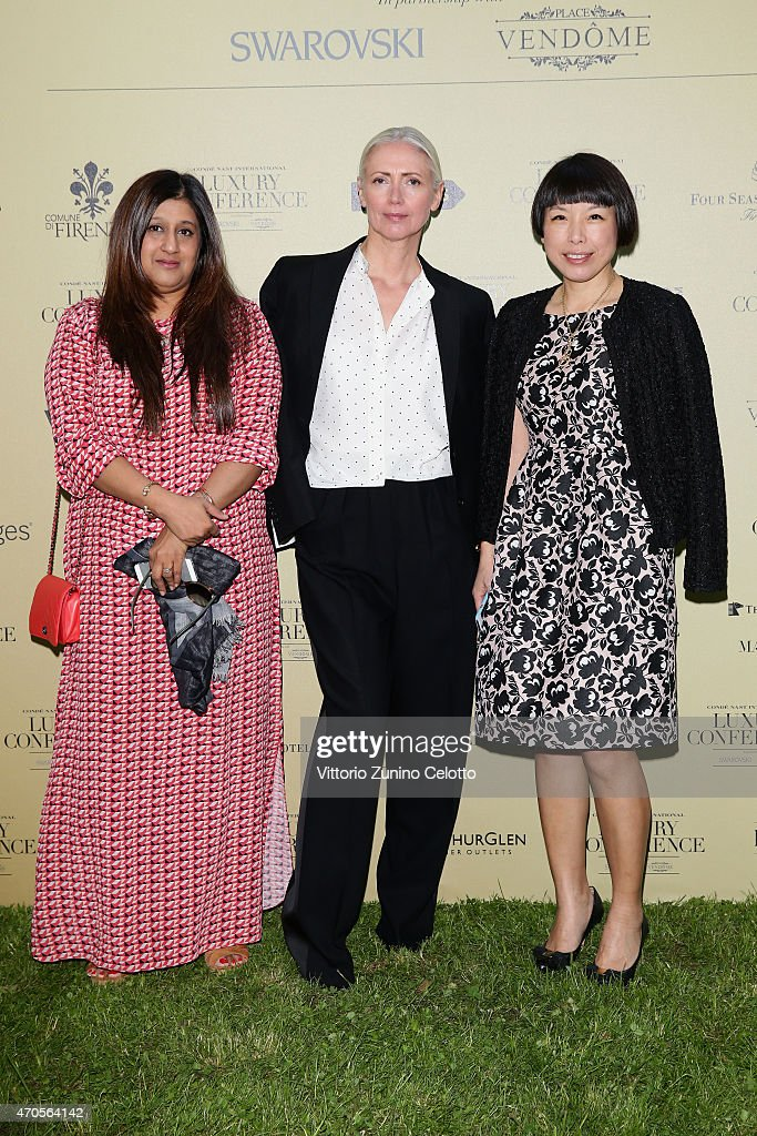 Priya Tanna, Editor, Vogue India, Christiane Arp, Edito, Vogue Germany and Angelina Cheung, Editor in Chief, Vogue China attend the Conde' Nast International Luxury Conference Welcome Reception at Four Seasons Hotel Firenze on April 21, 2015 in Florence, Italy.