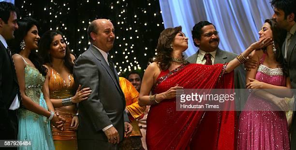 Priyanka Chopra Akshay Khanna Lilette Dubey Anupam Kher Amisha Patel Sunil Shetty on the sets of Aap Ki Khatir at Film City on Friday