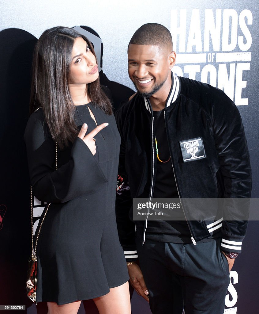 Priyanka Chopra and Usher attend the 'Hands of Stone' US premiere at SVA Theater on August 22 2016 in New York City