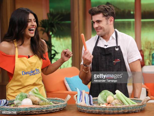 Priyanka Chopra and Zac Efron are seen on the set of 'Despierta America' to promote the film 'Baywatch' at Univision Studios on May 12 2017 in Miami...
