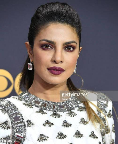 Priyanka Chopra arrives at the 69th Annual Primetime Emmy Awards at Microsoft Theater on September 17 2017 in Los Angeles California