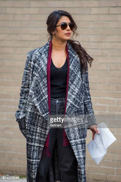 Priyanka Chopra is seen filming ABC's 'Quantico' in Midtown on November 14 2017 in New York City