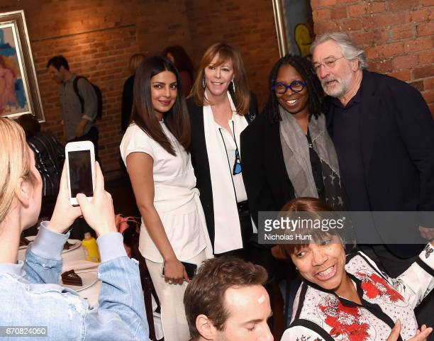 Priyanka Chopra Jane Rosenthal Whoopi Goldberg and Robert De Niro attend the jury welcome lunch at Tribeca Grill Loft on April 20 2017 in New York...