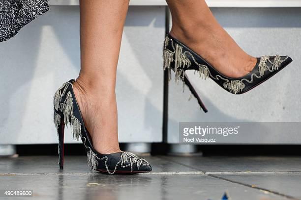 Priyanka Chopra shoe detail visits 'Extra' at Universal Studios Hollywood on September 28 2015 in Universal City California