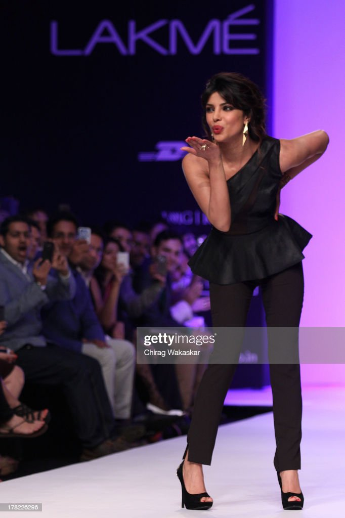 <a gi-track='captionPersonalityLinkClicked' href=/galleries/search?phrase=Priyanka+Chopra&family=editorial&specificpeople=228954 ng-click='$event.stopPropagation()'>Priyanka Chopra</a> showcases designs by Bisou Bisou during day 5 of Lakme Fashion Week Winter/Festive 2013 at the Hotel Grand Hyatt on August 27, 2013 in Mumbai, India.