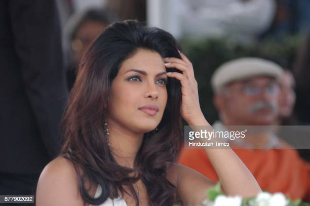 Priyanka Chopra watching a polo match at Jaipur polo ground in New Delhi on Sunday