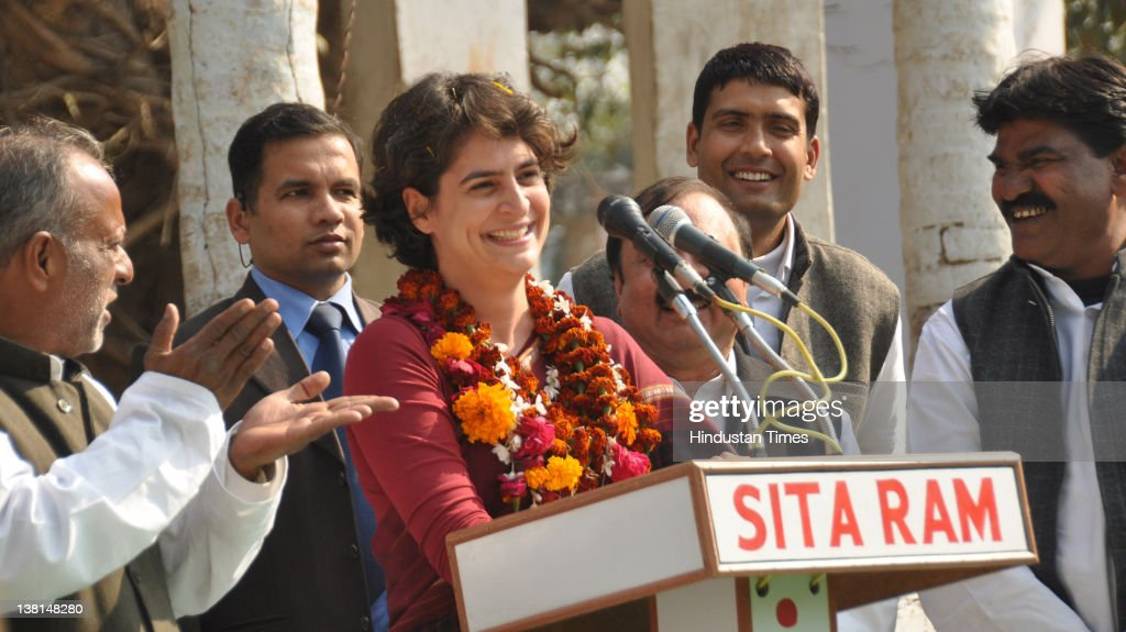 Priyanka Gandhi, daughter of Congress President Sonia Gandhi addressing a public meeting at Pindara village on February 3, 2012 in Amethi, India. At the start of her five-day election tour Sonia Gandhi said she is limiting her election campaigning for the Congress party to the 10 constituencies falling under Amethi and Rae Bareli Lok Sabha, seats that are represented by her brother Rahul Gandhi and mother Sonia Gandhi.