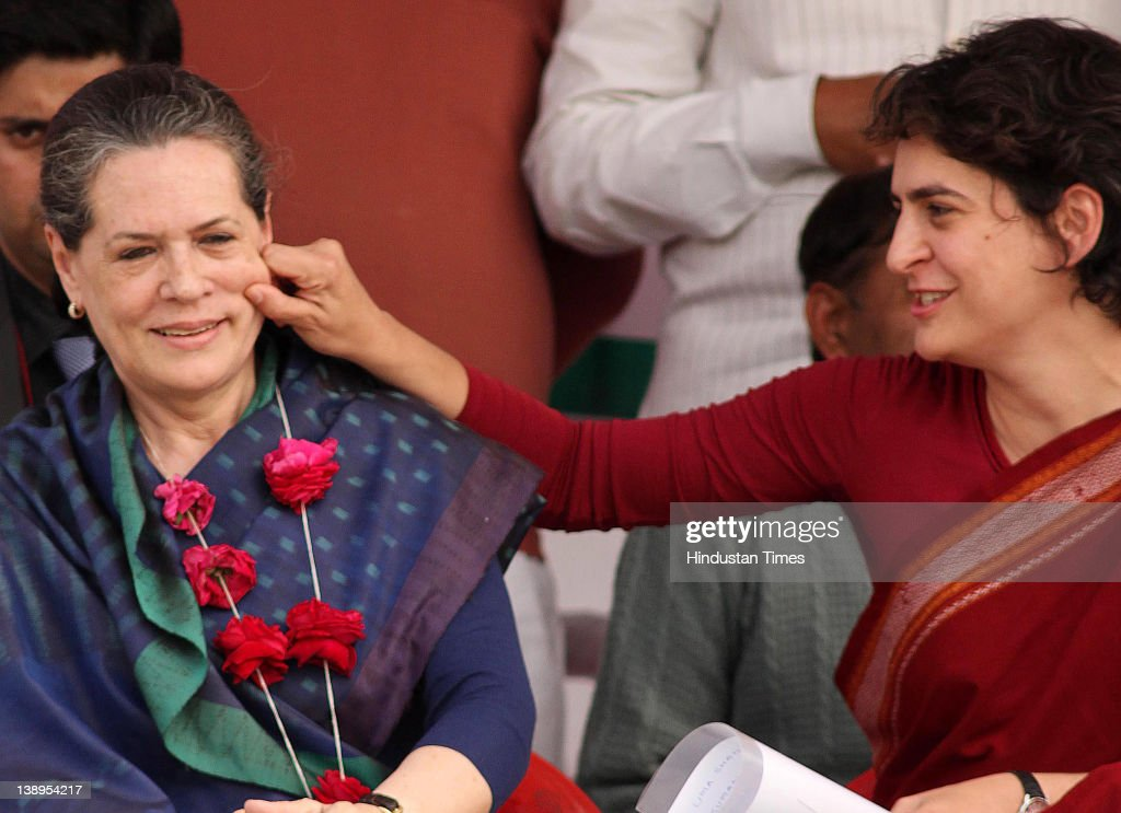 Priyanka Gandhi Vadra (R) with her mother Sonia Gandhi attend a political rally together on February 14, 2012 in Rae Bareli, India. Sharing the dais for the first time in poll-bound Uttar Pradesh the duo attacked the incumbent Mayawati Government in Uttar Pradesh of indulging in corruption on massive scale and failing to implement properly the various central scheme worth Rs one lakh crore.