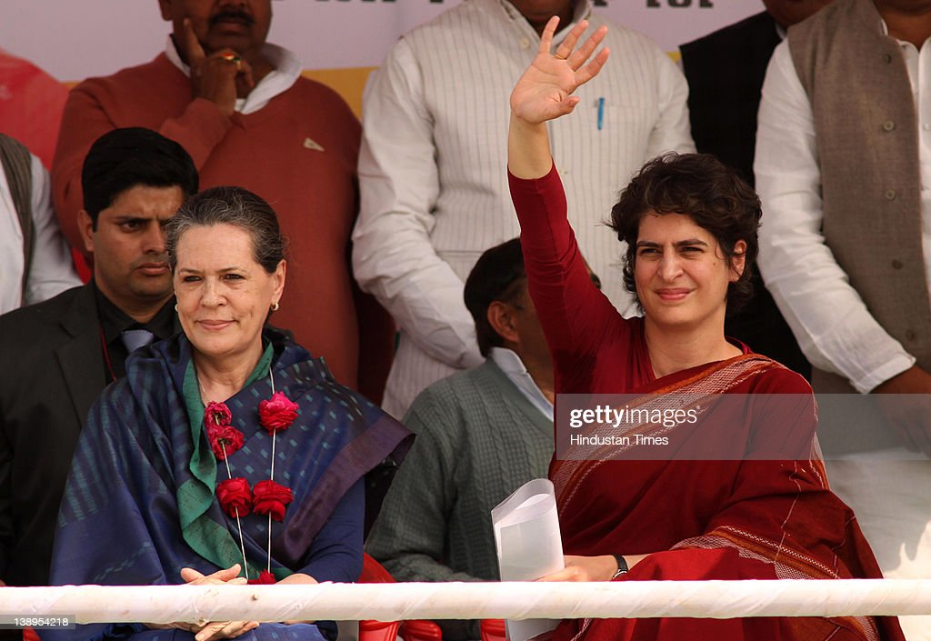 Priyanka Gandhi Vadra (R) with her mother <a gi-track='captionPersonalityLinkClicked' href=/galleries/search?phrase=Sonia+Gandhi&family=editorial&specificpeople=2287581 ng-click='$event.stopPropagation()'>Sonia Gandhi</a> attend a political rally together on February 14, 2012 in Rae Bareli, India. Sharing the dais for the first time in poll-bound Uttar Pradesh the duo attacked the incumbent Mayawati Government in Uttar Pradesh of indulging in corruption on massive scale and failing to implement properly the various central scheme worth Rs one lakh crore.