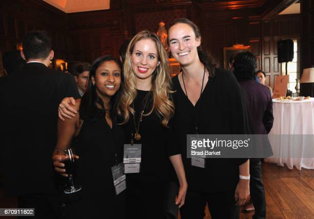Priyanka Jain Karolina Stawinska and Becca Goldstein attend the Kairos Society Global Summit Welcome Dinner At The Rockefeller Family Estate on April...