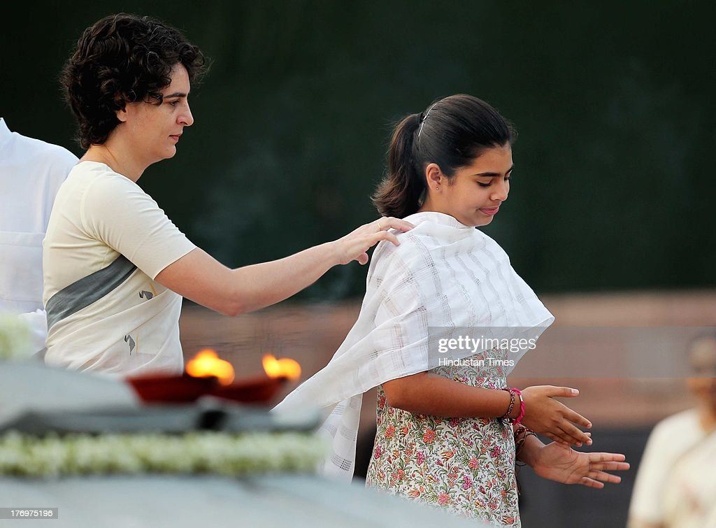 Priyanka Vadra along with her daughter Miraya Vadra pay tribute to former Indian Prime Minister Rajiv Gandhi on his birth anniversary at his memorial on August 20, 2013 in New Delhi, India. Rajiv Gandhi, who heralded the information and communication technology revolution in the country, was born on August 20, 1944 and served as the sixth Prime Minister of India from 1984-1989. He was assassinated by the LTTE on May 21, 1991 at Sriperumbudur in Tamil Nadu while addressing an election campaign.
