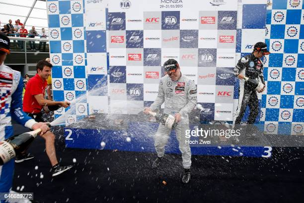 Prize giving ceremony 2 Jake Dennis 1 Felix Rosenqvist 7 Charles Leclerc FIA Formula 3 European Championship round 4 race 3 Monza 29 31 May 2015