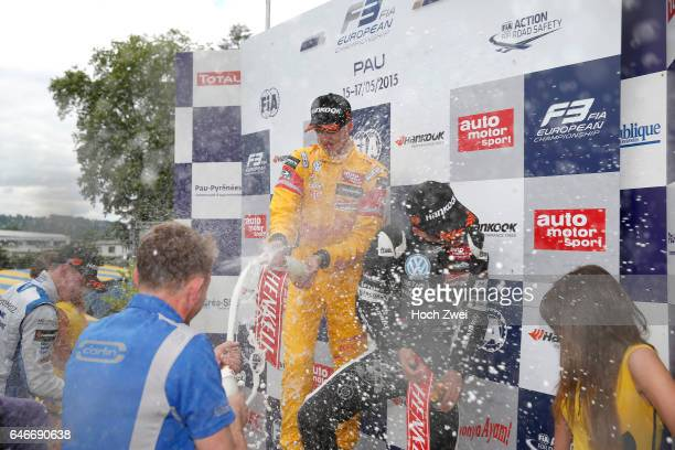 Prize giving ceremony 3 Antonio Giovinazzi 7 Charles Leclerc FIA Formula 3 European Championship round 3 race 3 Pau 15 17 May 2015