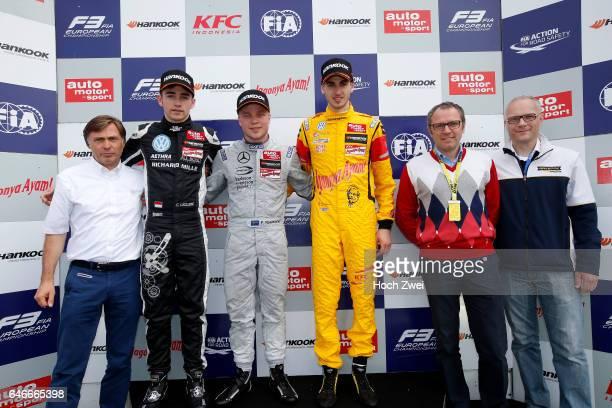 Prize giving ceremony Jost Capito 7 Charles Leclerc 1 Felix Rosenqvist 3 Antonio Giovinazzi Stefano Domenicali Martin Huning FIA Formula 3 European...