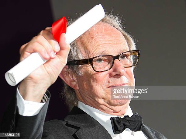 Prize winner for 'The Angels Share' Ken Loach poses at the Winners Photocall at Palais des Festivals on May 27 2012 in Cannes France