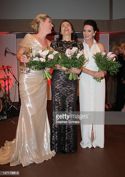 Prize winners Maria Furtwaengler and Barbara Auer and Iris Berben attend the Diva Award 2012 at Hotel Bayerischer Hof Promenadeplatz on June 26 2012...