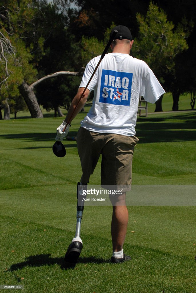 Pro Athletes and injured soldiers get together at the Woodland Hills Country Club Monday morning for a golf tournament to benefit the Iraq Star...