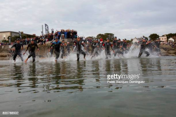 Pro athletes compete during the swim leg of the men race of IRONMAN 703 Dublin on August 20 2017 in Dublin Ireland