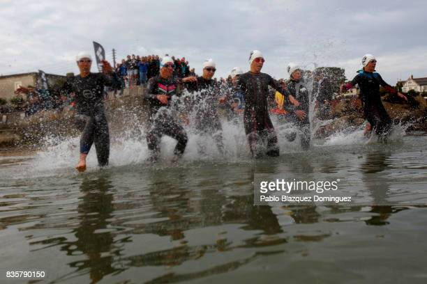 Pro athletes compete during the swim leg of the women race of IRONMAN 703 Dublin on August 20 2017 in Dublin Ireland