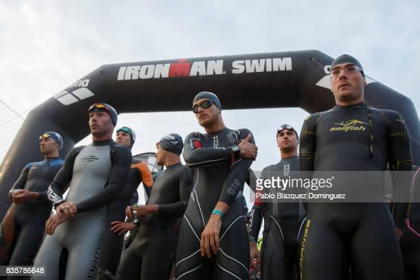 Pro athletes prepare to start the swim leg of the men race of IRONMAN 703 Dublin on August 20 2017 in Dublin Ireland