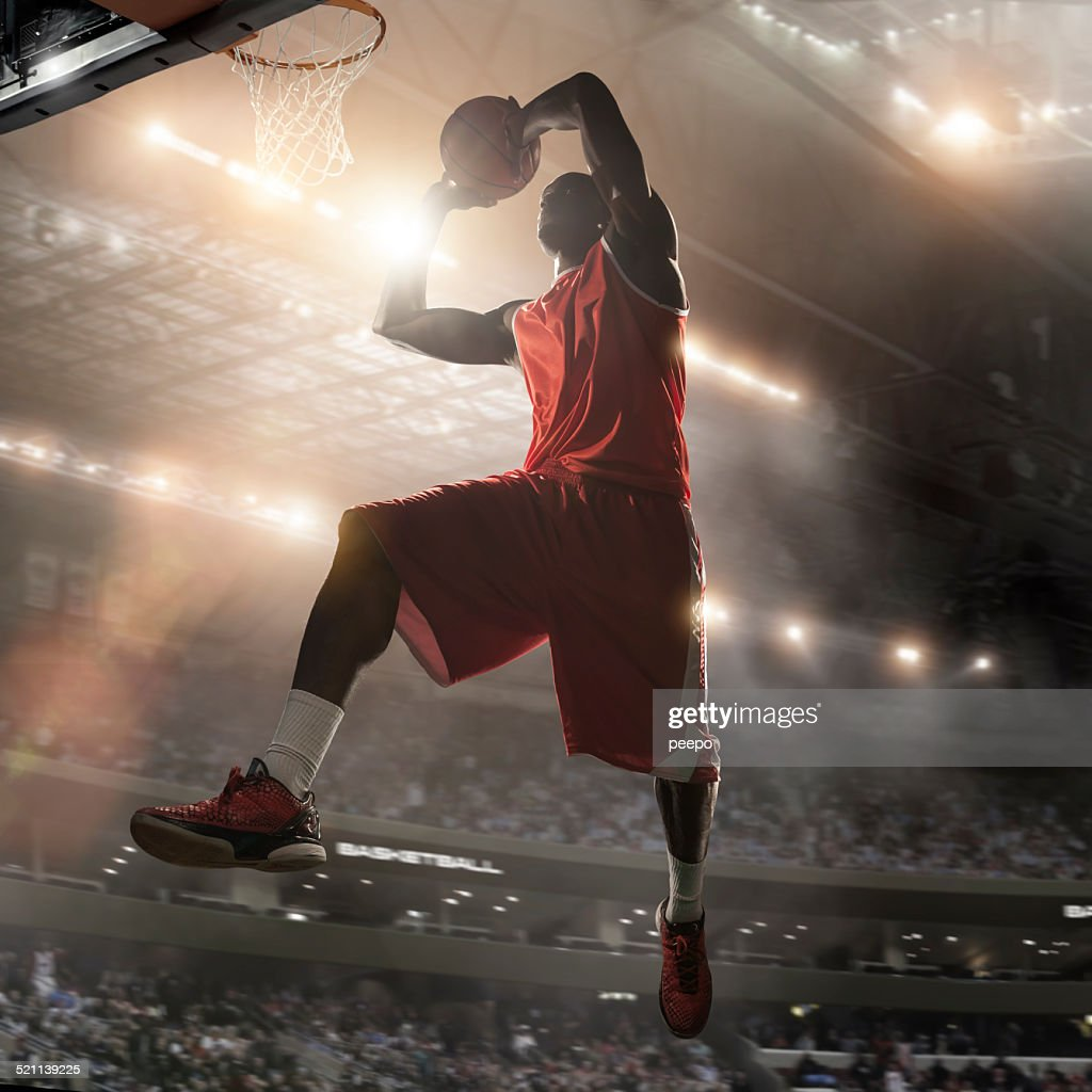 Pro Basketball Player About To Dunk