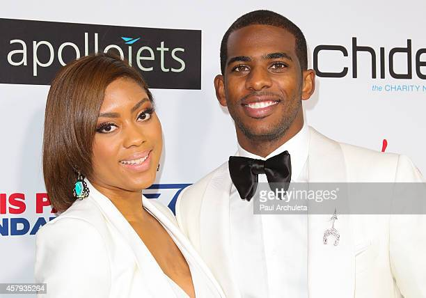 Pro Basketball Player Chris Paul and his wife Jada Crawley attend the CP3 Foundation's Celebrity Server Dinner at Mastro's Steakhouse on October 26...