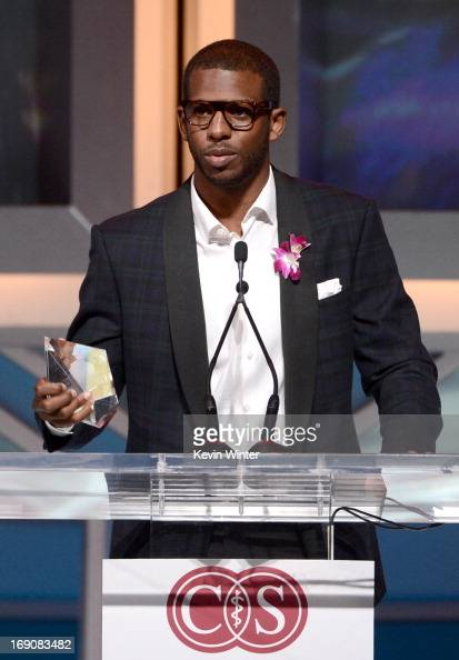Pro basketball player Chris Paul speaks at the podium at the 28th Anniversary Sports Spectacular Gala at the Hyatt Regency Century Plaza on May 19...
