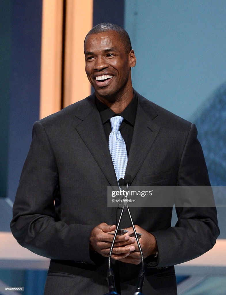 Pro basketball player <a gi-track='captionPersonalityLinkClicked' href=/galleries/search?phrase=Jason+Collins+-+Basketball+Player&family=editorial&specificpeople=201926 ng-click='$event.stopPropagation()'>Jason Collins</a> speaks onstage after receiving the Inspirational Athlete of the Year Award at the 28th Anniversary Sports Spectacular Gala at the Hyatt Regency Century Plaza on May 19, 2013 in Century City, California.