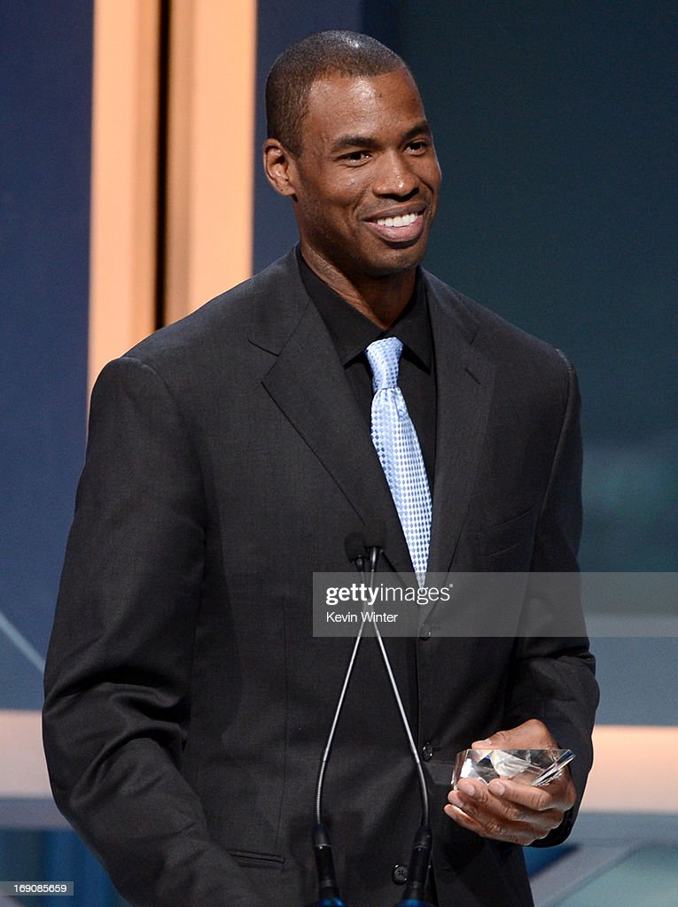 Pro basketball player Jason Collins speaks onstage after receiving the Inspirational Athlete of the Year Award at the 28th Anniversary Sports Spectacular Gala at the Hyatt Regency Century Plaza on May 19, 2013 in Century City, California.