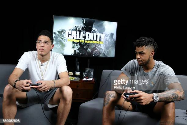 Pro Basketball Players D'Angelo Russell and Devin Booker play 'Call of Duty Infinite Warfare Continuum DLC' at Infinity Ward on April 18 2017 in...