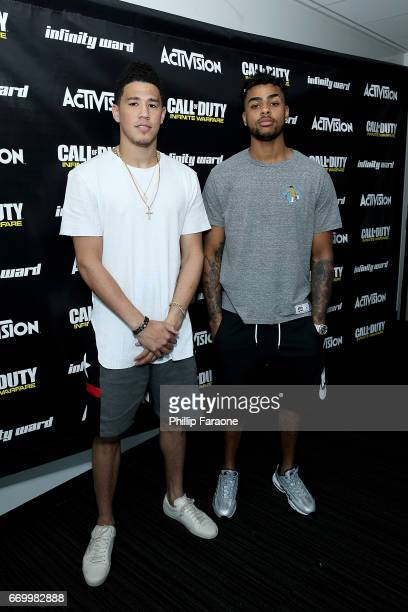 Pro Basketball Players D'Angelo Russell and Devin Booker visit Infinity Ward for a 'Call of Duty Infinite Warfare Continuum DLC' livestream on April...