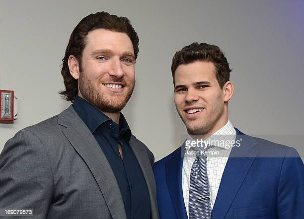 Pro basketball players Peter Cornell and Kris Humphries attend the 28th Anniversary Sports Spectacular Gala at the Hyatt Regency Century Plaza on May...