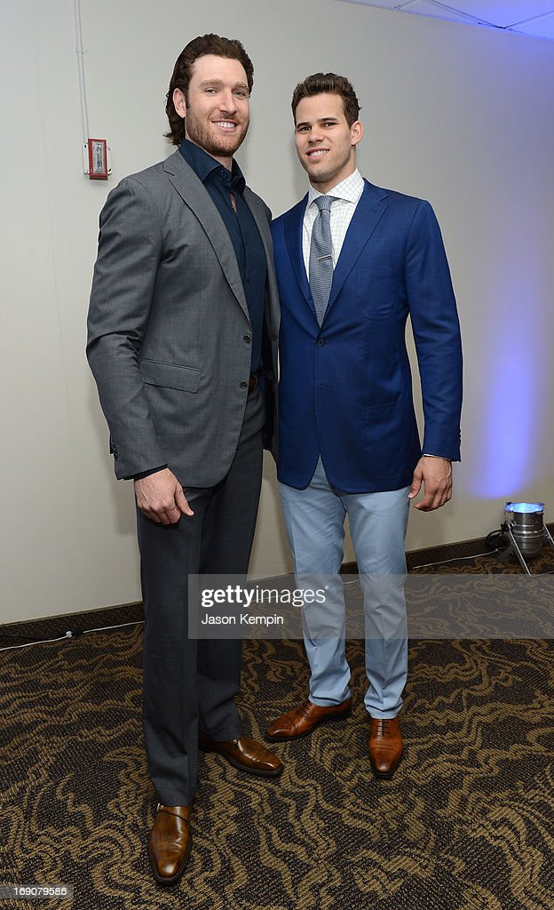 Pro basketball players Peter Cornell and Kris Humphries attend the 28th Anniversary Sports Spectacular Gala at the Hyatt Regency Century Plaza on May 19, 2013 in Century City, California.