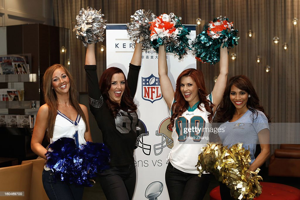Pro Bowl Cheerleaders pose for a group photo during the media day at Kerry Hotel on February 1, 2013 in Beijing, China.