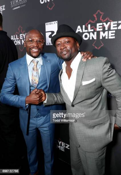 Pro boxer Floyd Mayweather and guest at the 'ALL EYEZ ON ME' Premiere at Westwood Village Theatre on June 14 2017 in Westwood California