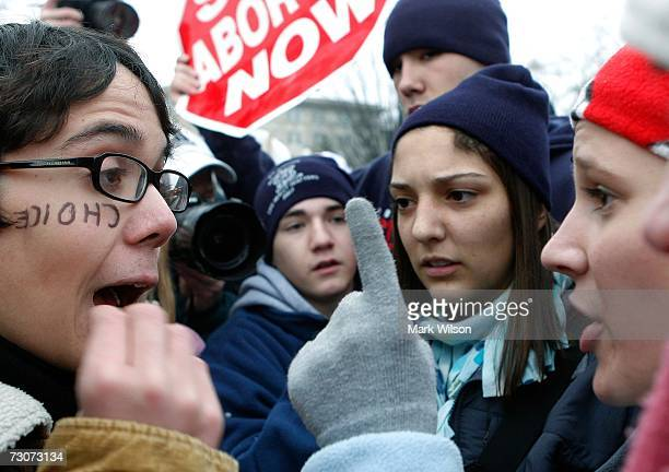 Pro choice advocate Johannes Schimdt argues his point of view to prolife supporters in front of the US Supreme Court building January 22 2007 in...