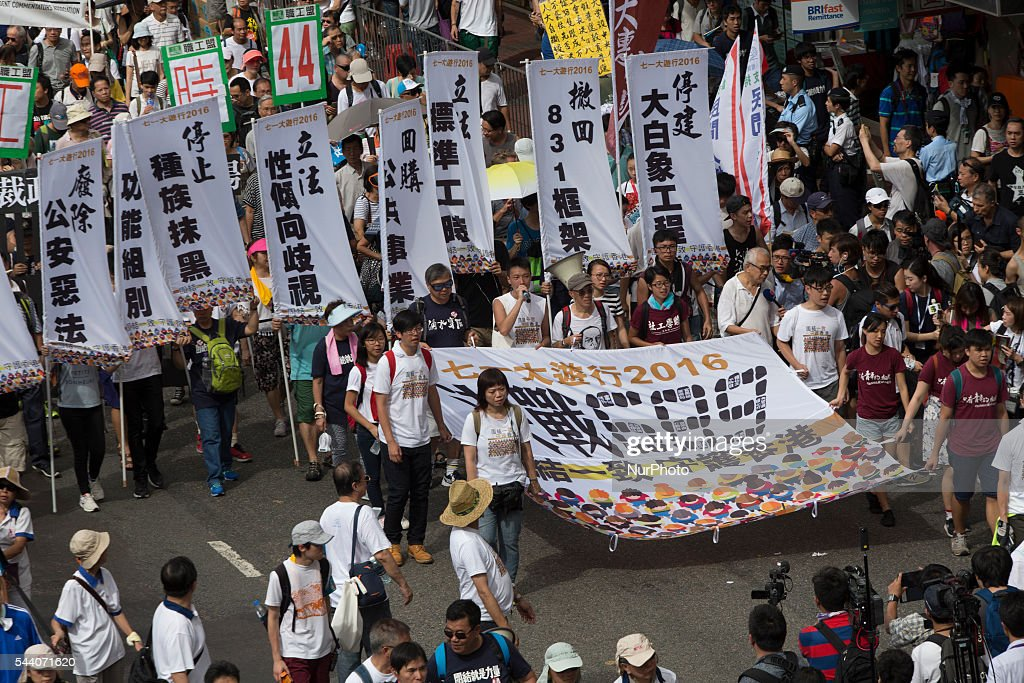 Pro Democracy protesters march as the city marks the 19th anniversary of the handover from Uk to China, in Hong Kong, July 1 2016
