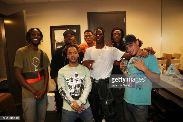 Pro Era's CJ Fly Dee Knows Powers Pleasant Joey Bada$$ and Nyck Caution backstage at Barclays Center on August 8 2017 in New York City