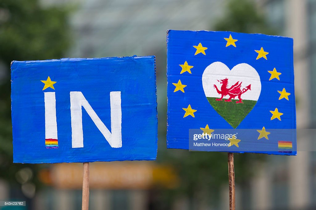A pro EU sign is seen during an anti-Brexit rally on June 28, 2016 in Cardiff, Wales. The protest is at a time of economic and political uncertainty following the referendum result last week, which saw the UK vote to leave the European Union.