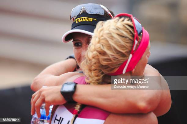 Pro female athlete Lisa Huetthaler from Austria hugs firts place Yvonne Van Vlerken from The Netherlands after arriving on second place at the finish...