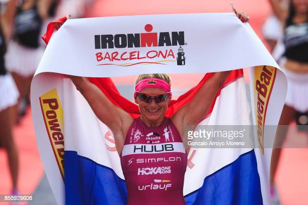 Pro female athlete Yvonne Van Vlerken from The Netherlands arrives on first place at the finish line of the IRONMAN Barcelona on September 30 2017 in...